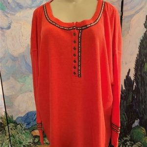Woman Within Coral Thermal Embroidered Tunic Top